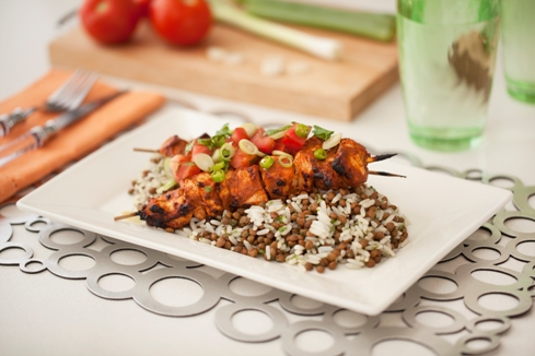 Spicy chicken kebabs with lentil rice