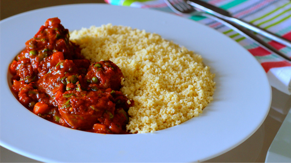 Goat Meat In Vegie Sauce & Couscous
