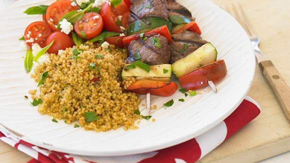 BBQ Beef Vegetable Skewers & Couscous