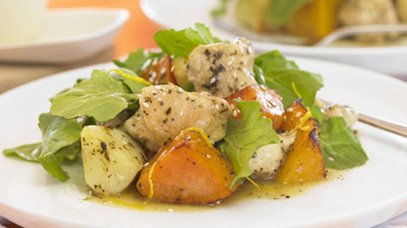 Lemon & Herb Chicken with baked potatoes & pumpkin