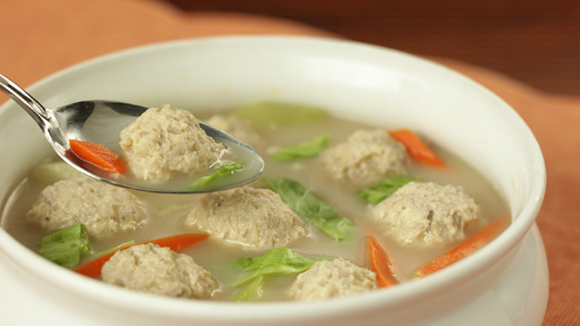 Almondigas Soup with Pork Balls Recipe
