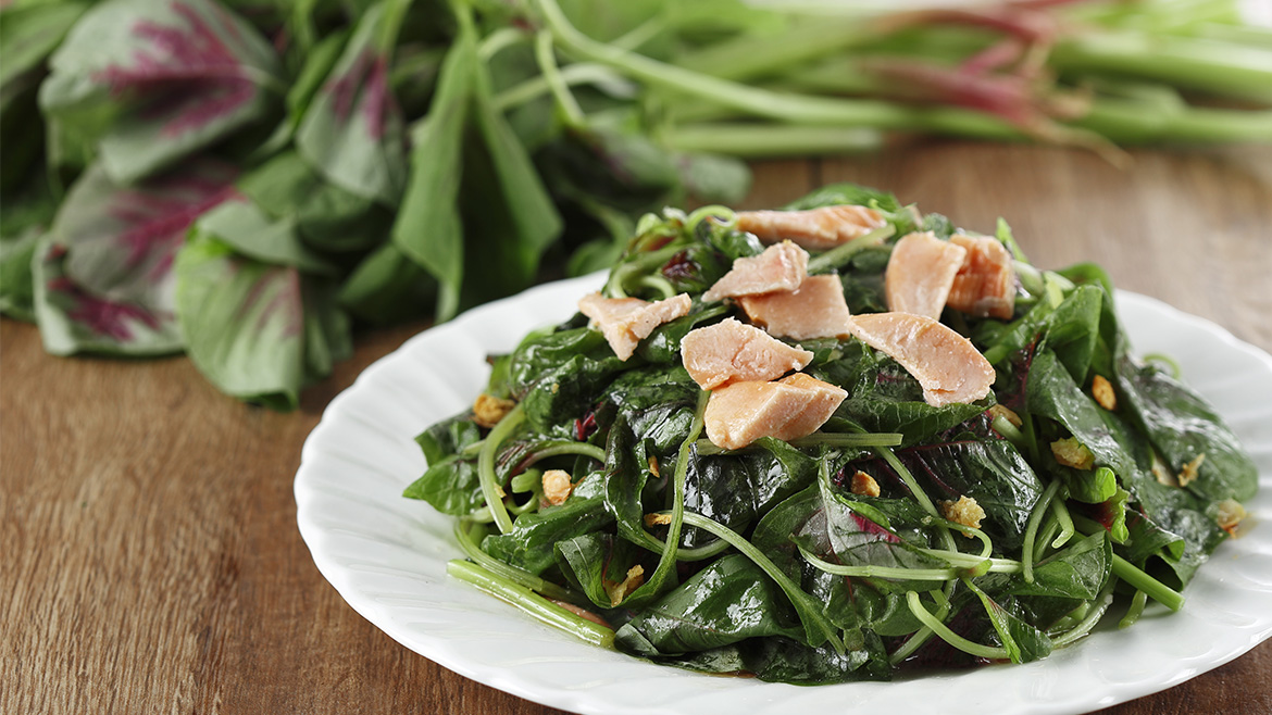 Stir Fried Spinach With Salmon