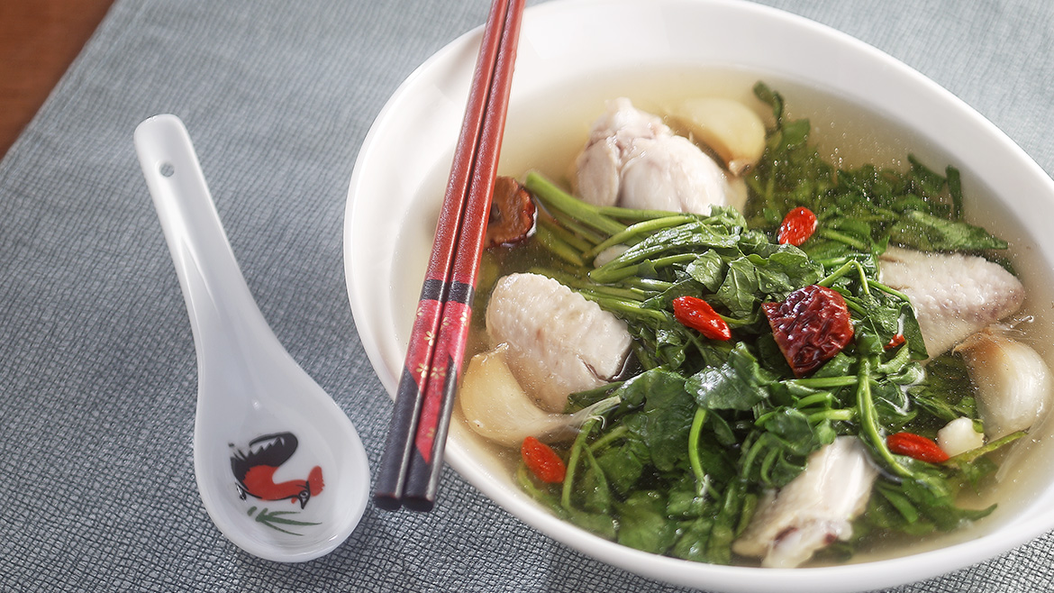 Watercress Soup with Chicken