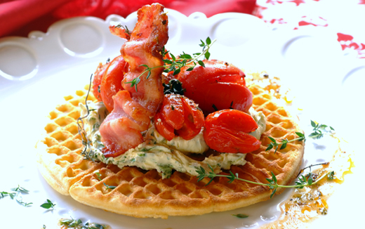 Herbed mascarpone, tomato and bacon waffles