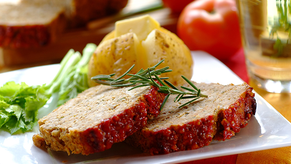 Chicken Meat Loaf with a Tomato Topping