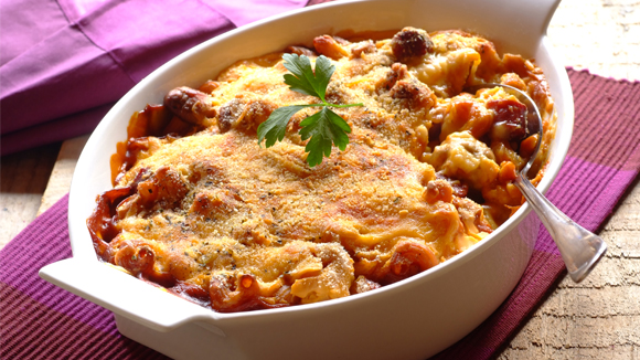 Spicy Sausage, Mushroom and Noodle Bake