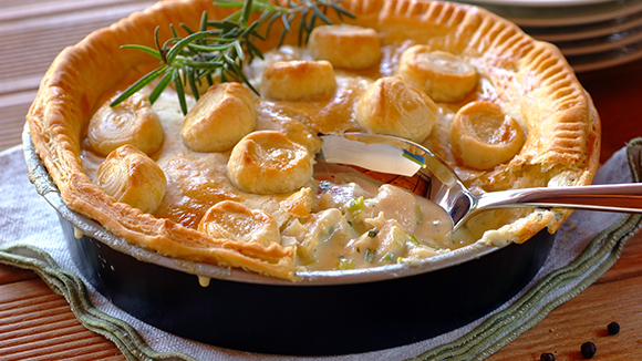 Creamy Chicken, Leek and Bacon Pie