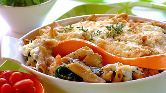 Three-Cheese Chicken, Pesto and Pasta Bake