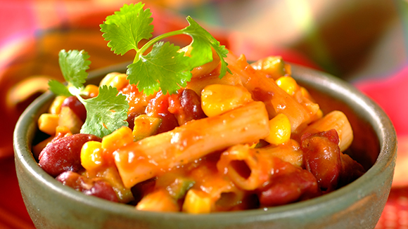 Spicy Mexican Pasta with Beans and Corn