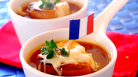 French Onion Soup with Mozzarella Toasts