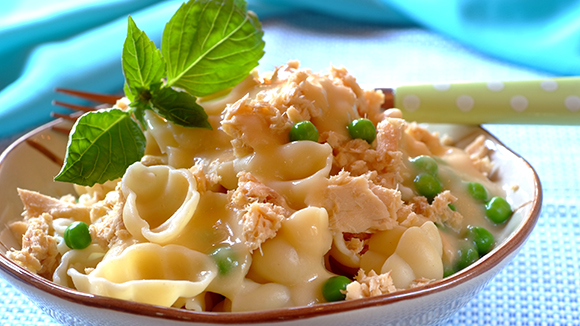 Creamy Salmon, Pea and Mint Pasta