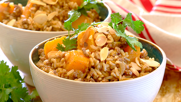 All in One Mince and Butternut Pilaf