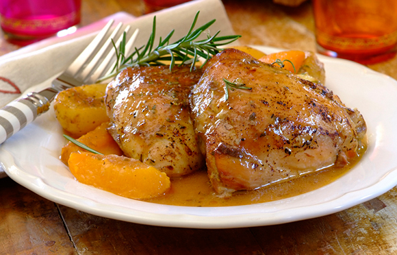 All-In-One Chicken, Peach and Rosemary Bake