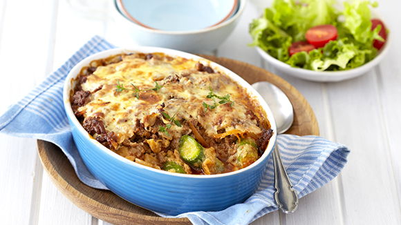 Baby Marrow and Mozzarella Bolognaise Bake