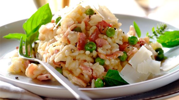 Risotto with Bacon, Blue Cheese and Peas