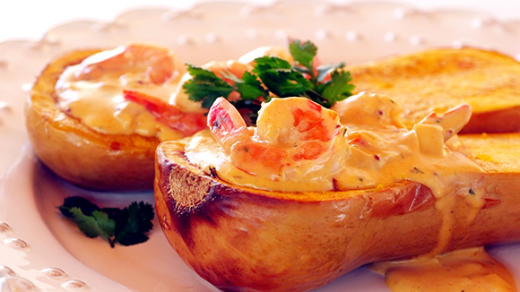 Baked Butternut Stuffed with Creamy Brandied Prawns