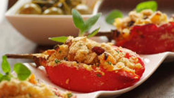 Baked Peppers Stuffed with Smoked Chicken