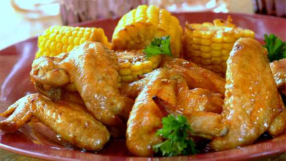 Barbeque Chicken Wings with Corn on the Cob