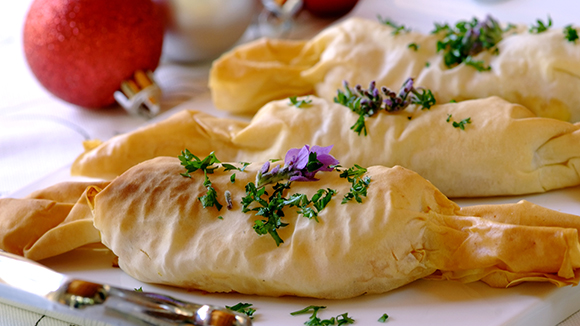 Butternut and Feta Christmas Phyllo Crackers