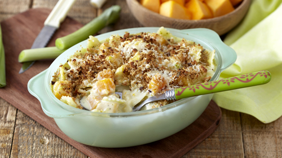 Butternut and Leek Pasta Au Gratin