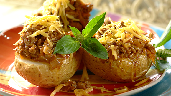 Cheesy Mince Baked Potatoes