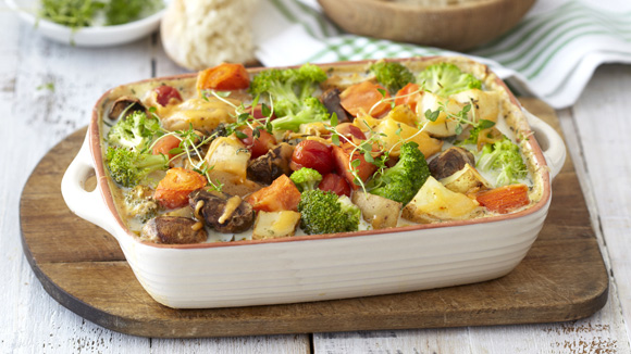 Cheesy Mixed Vegetable Bake