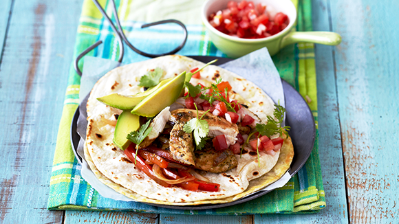 Chicken Fajitas with Avocado and Peppers