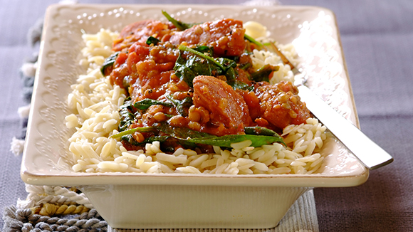 Chorizo, Lentils and Baby Spinach on Pasta Rice