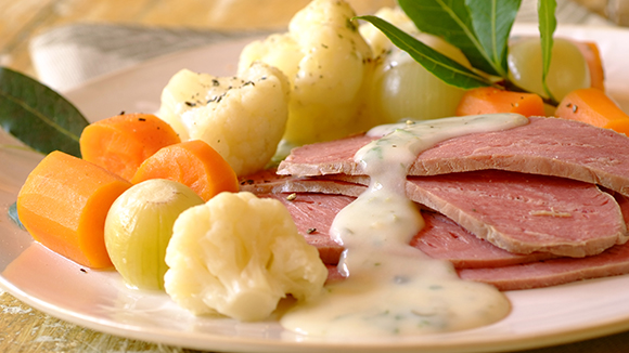 Corned Beef and Veggies with White Sauce and Capers