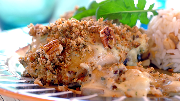 Creamy Chicken Bake with a Crunchy Pecan Crust