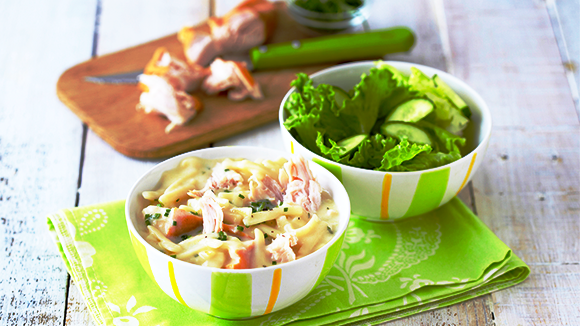 Creamy Pasta with Smoked Chicken & Chives