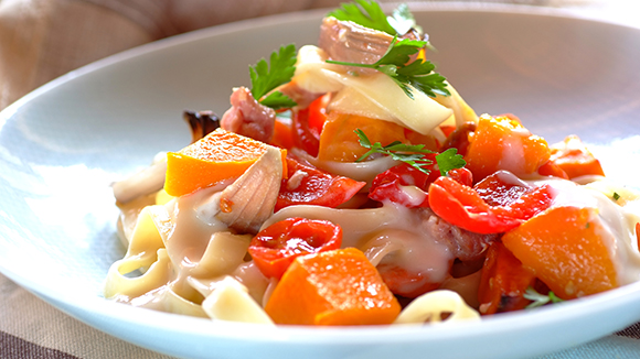 Creamy Pasta with Roast Vegetables and Bacon