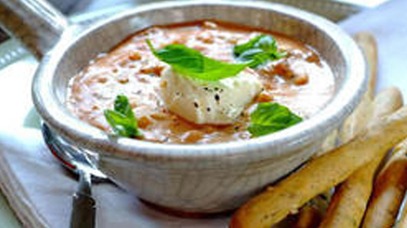 Creamy Tomato Soup with Barley and Basil