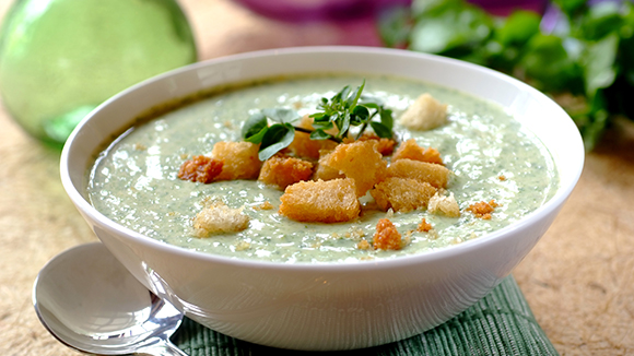 Creamy Watercress and Blue Cheese Soup
