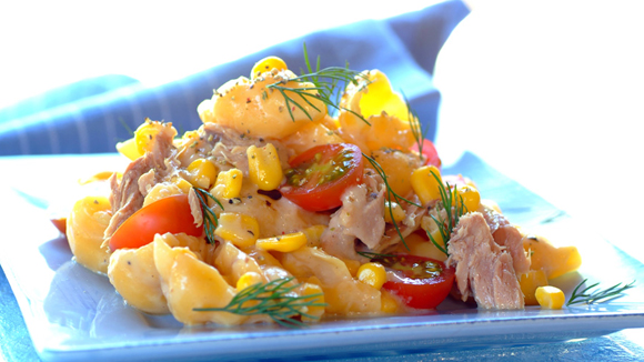 Creamy Pasta with Tuna, Corn and Cherry Tomatoes