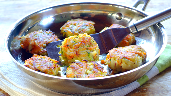 Crispy Potato, Carrot and Marrow Cakes