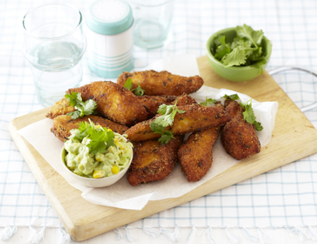 Crunchy Chicken Sticks With Avocado And Sweetcorn