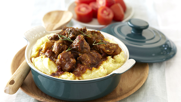 Curried Beef and Mushrooms with Golden Mash