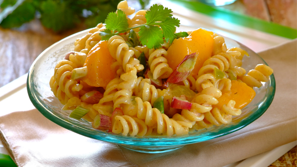 Curried peach noodle salad