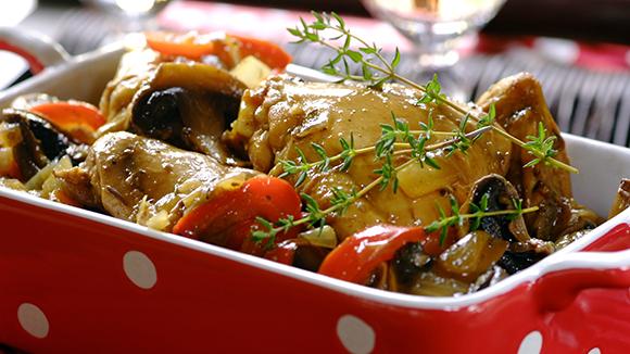 Easy Chicken, Mushroom and Red Pepper Stew