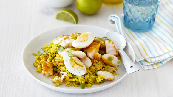Easy Kedgeree with Haddock, Eggs and Peas