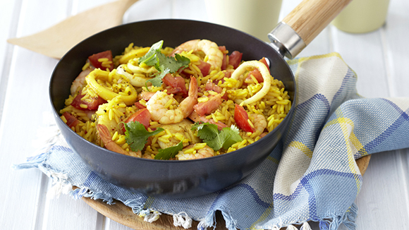 Easy Seafood Breyani with Prawns, Hake and Calamari