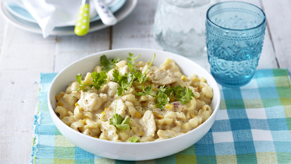 Extra-Creamy Pasta with Chicken, Cheese and Corn