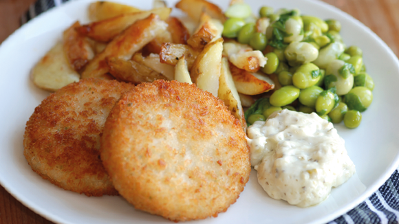 Fishcakes and chips