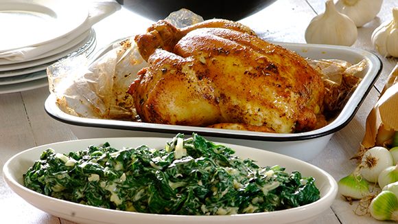 Garlic and Rosemary Roast Chicken with Creamy Spinach