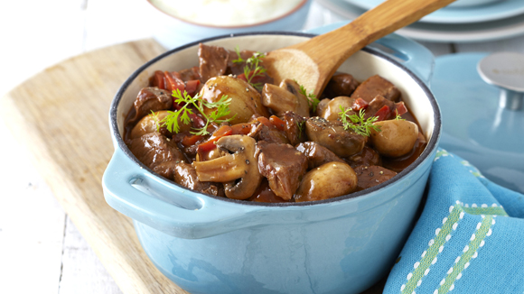 Hearty Beef Stew with Mushrooms and Mash