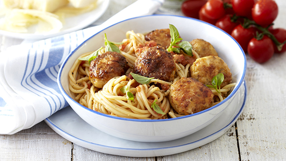 Herbed Chicken Meatballs on Spaghetti