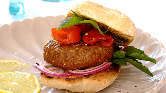 Lamb Burgers with Rosemary and Feta