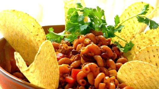Mexican Boloroni with Mince, Beans and  Corn