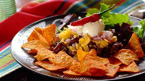Mexican Mince with Beans, Lettuce and Sour Cream